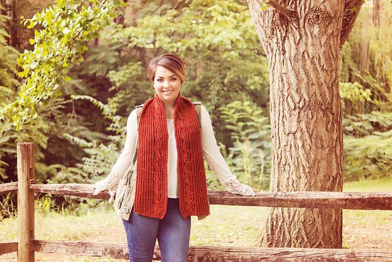 Adamello by Kristen TenDyke. Fall with SweetGeorgia. Scarf brioche knitting pattern.