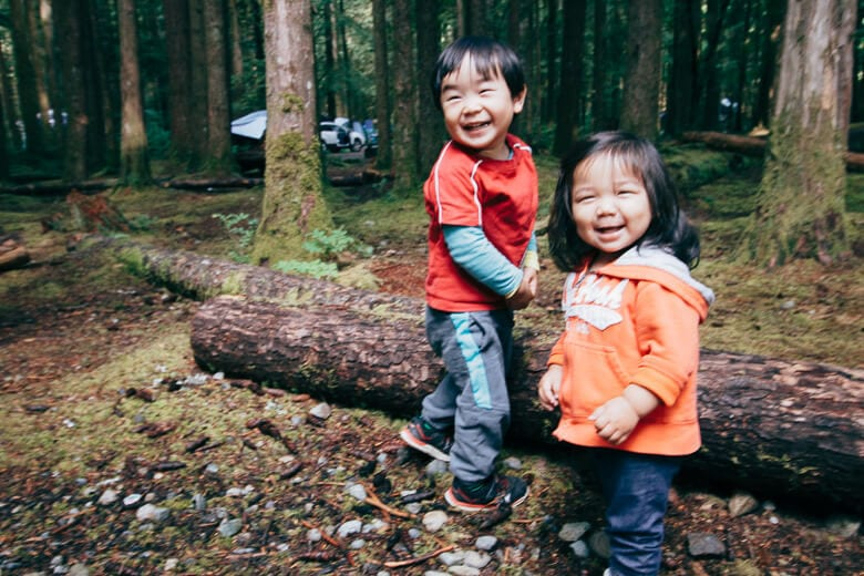 Nina and Russell in the woods. Going camping for the first time with Nina at Golden Ears.