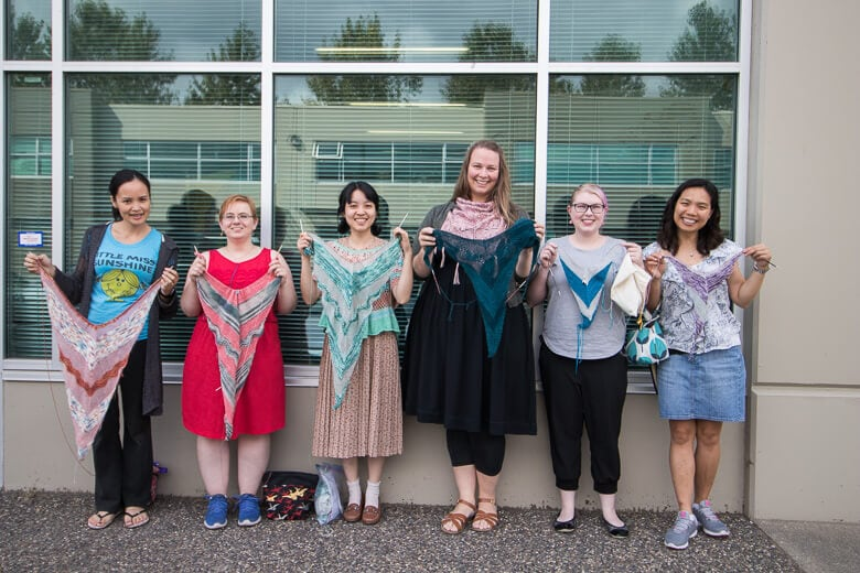 From Left to Right: Teresa, Misty, Charlotte, Brigid, Leah, and Yammie with their Birds of a Feather shawls in progress