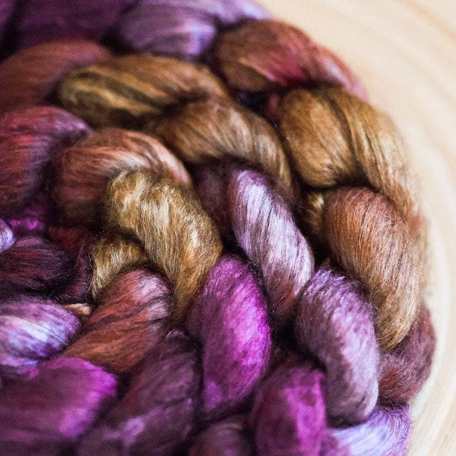 Invisible Fate colourway hand-dyed on Yak+Silk Spinning Fibre